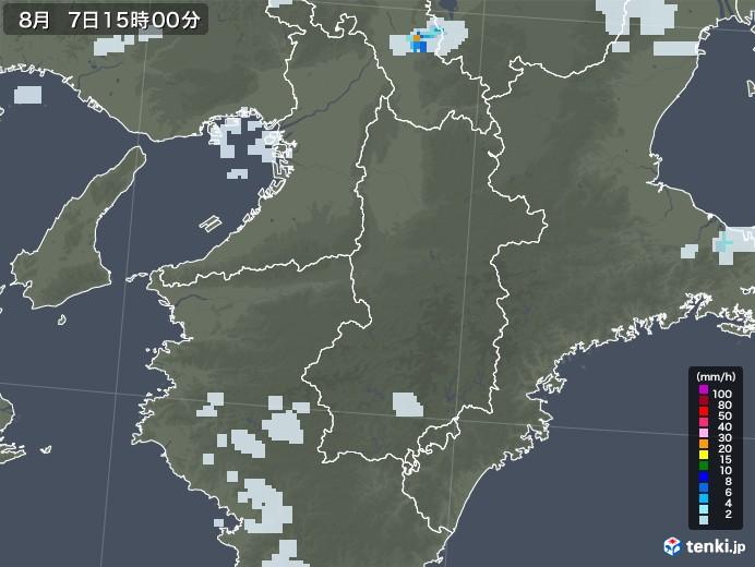 奈良県の雨雲レーダー(2020年08月07日)