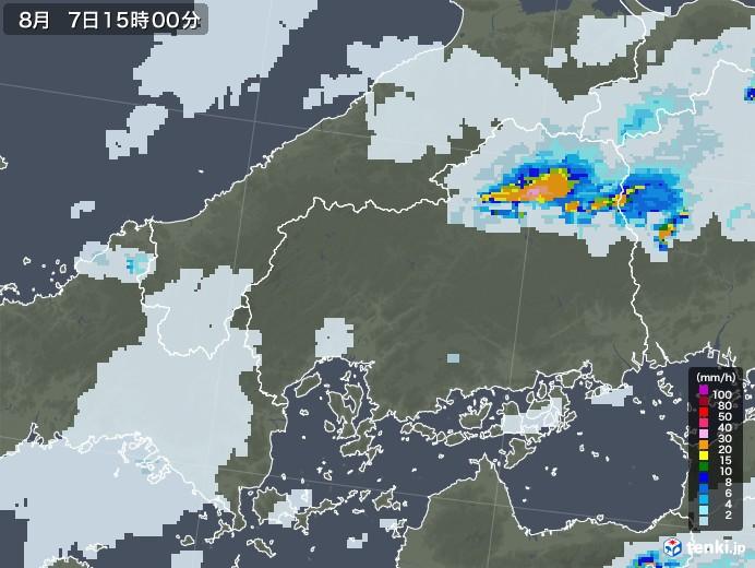 広島県の雨雲レーダー(2020年08月07日)