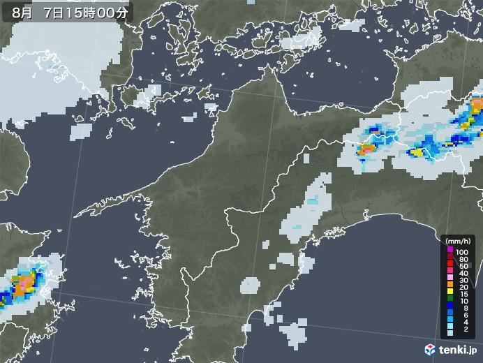 愛媛県の雨雲レーダー(2020年08月07日)