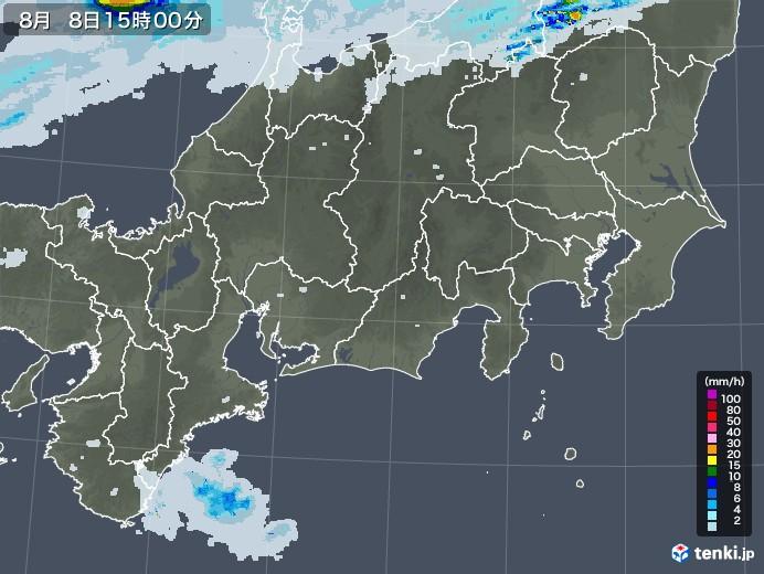 東海地方の雨雲レーダー(2020年08月08日)