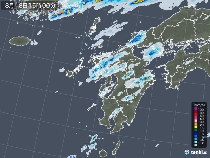 九州地方の雨雲レーダー(2020年08月08日)