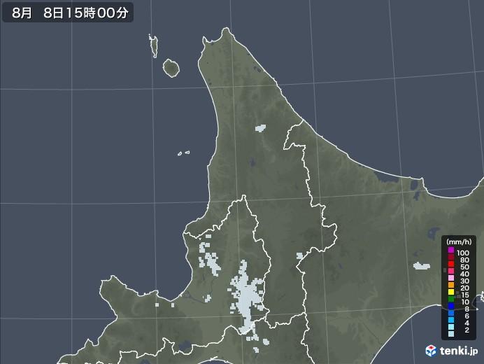道北の雨雲レーダー(2020年08月08日)