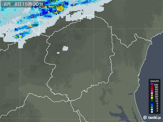 栃木県の雨雲レーダー(2020年08月08日)