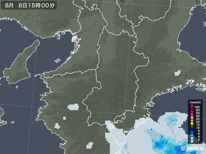 奈良県の雨雲レーダー(2020年08月08日)