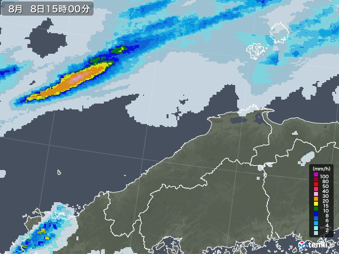 島根県の雨雲レーダー(2020年08月08日)