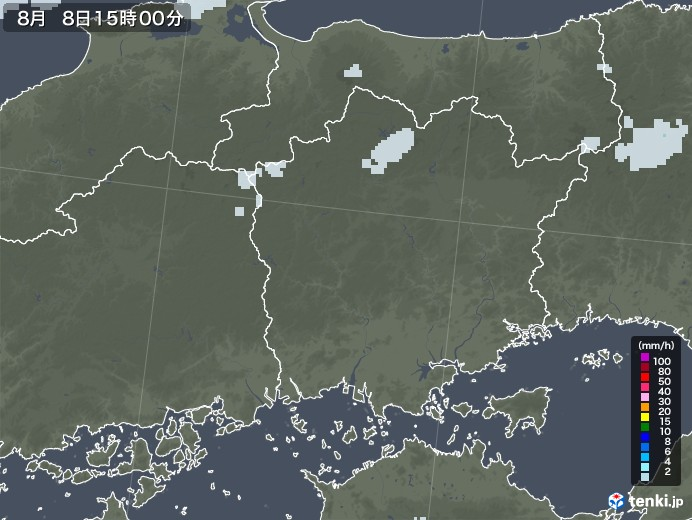 岡山県の雨雲レーダー(2020年08月08日)