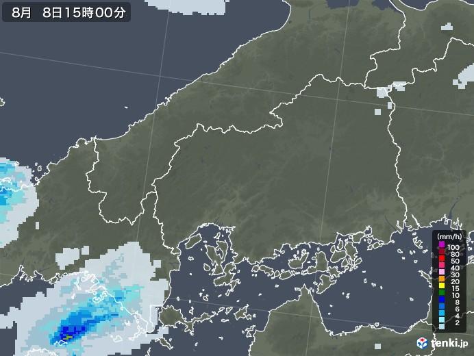 広島県の雨雲レーダー(2020年08月08日)