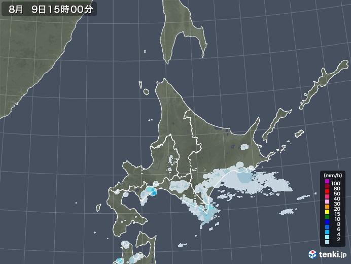 北海道地方の雨雲レーダー(2020年08月09日)