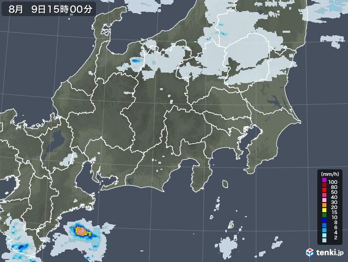 関東・甲信地方の雨雲レーダー(2020年08月09日)