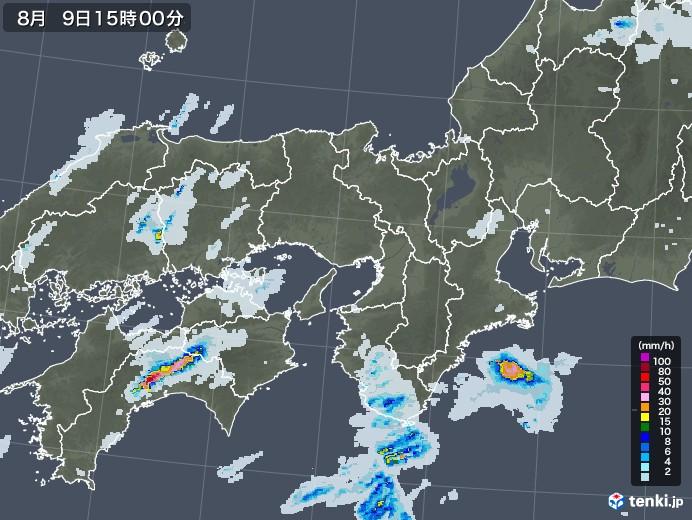 近畿地方の雨雲レーダー(2020年08月09日)