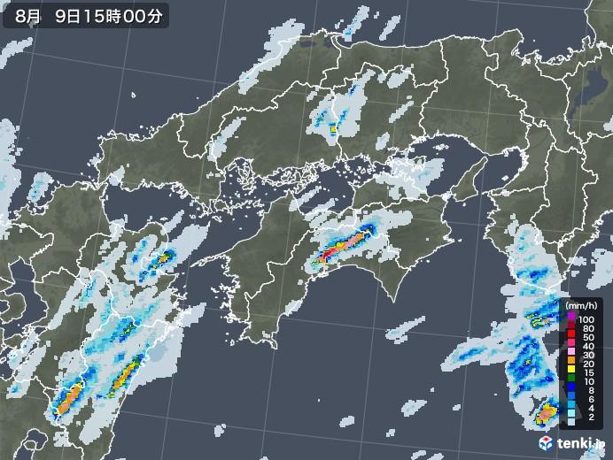 四国地方の雨雲レーダー(2020年08月09日)