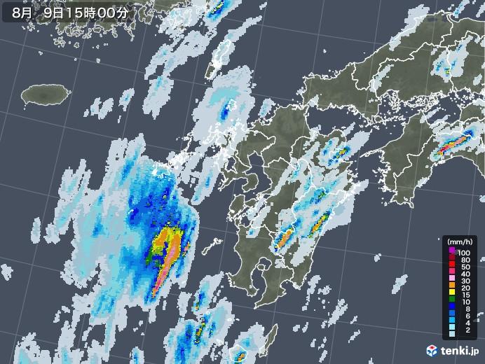 九州地方の雨雲レーダー(2020年08月09日)