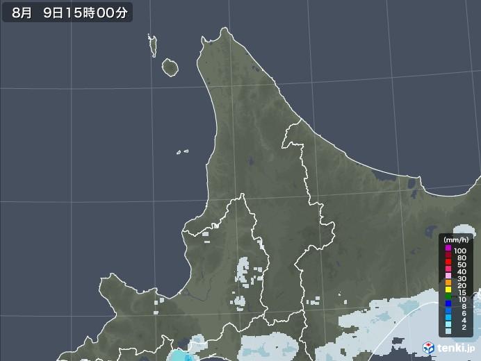 道北の雨雲レーダー(2020年08月09日)