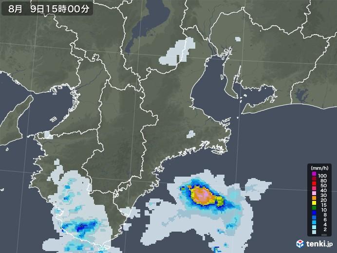 三重県の雨雲レーダー(2020年08月09日)