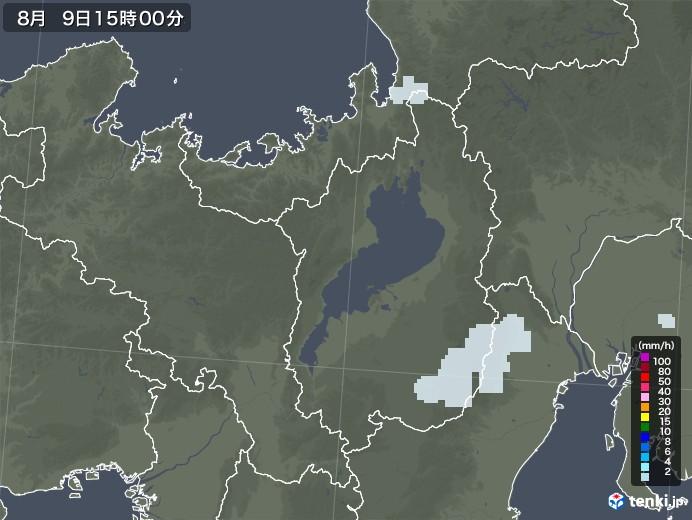 滋賀県の雨雲レーダー(2020年08月09日)