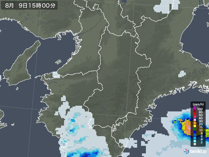 奈良県の雨雲レーダー(2020年08月09日)