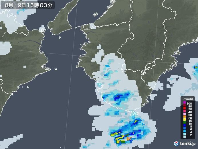 和歌山県の雨雲レーダー(2020年08月09日)