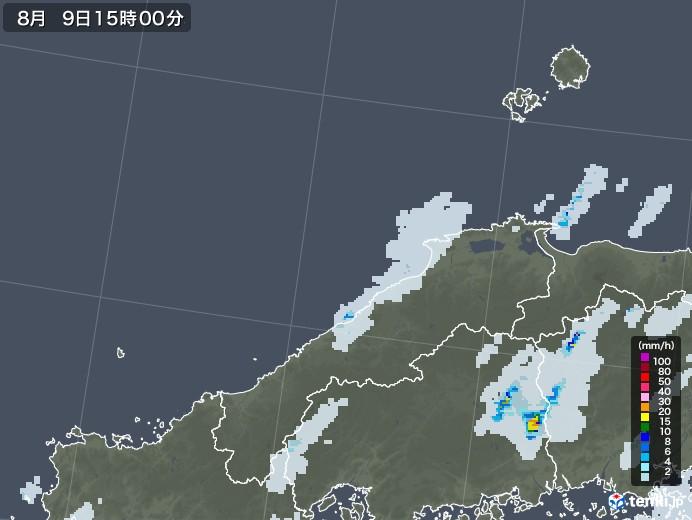 島根県の雨雲レーダー(2020年08月09日)
