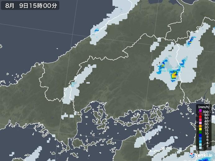 広島県の雨雲レーダー(2020年08月09日)
