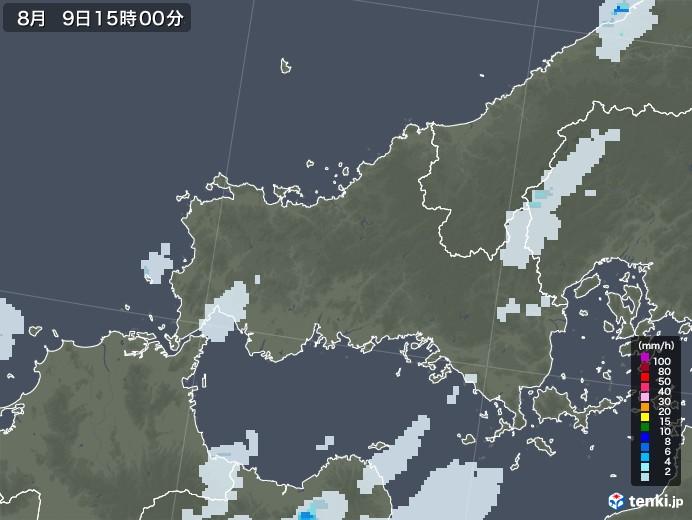 山口県の雨雲レーダー(2020年08月09日)