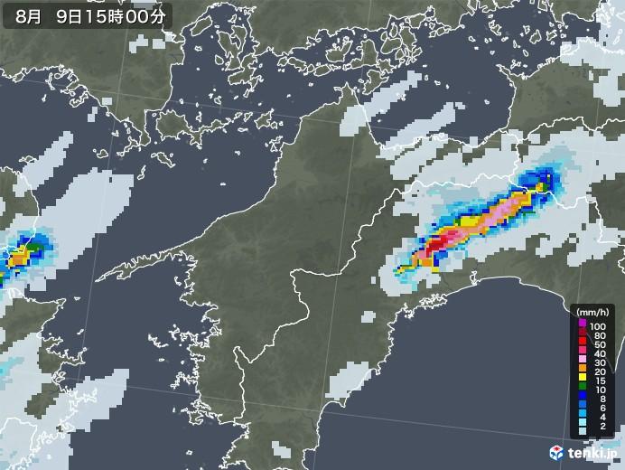 愛媛県の雨雲レーダー(2020年08月09日)