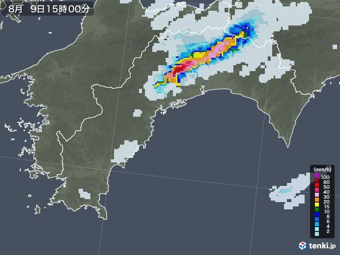 高知県の雨雲レーダー(2020年08月09日)
