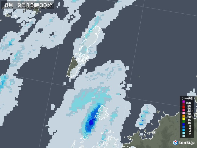 壱岐・対馬(長崎県)の雨雲レーダー(2020年08月09日)