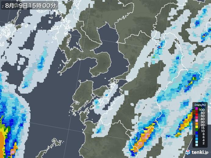 熊本県の雨雲レーダー(2020年08月09日)