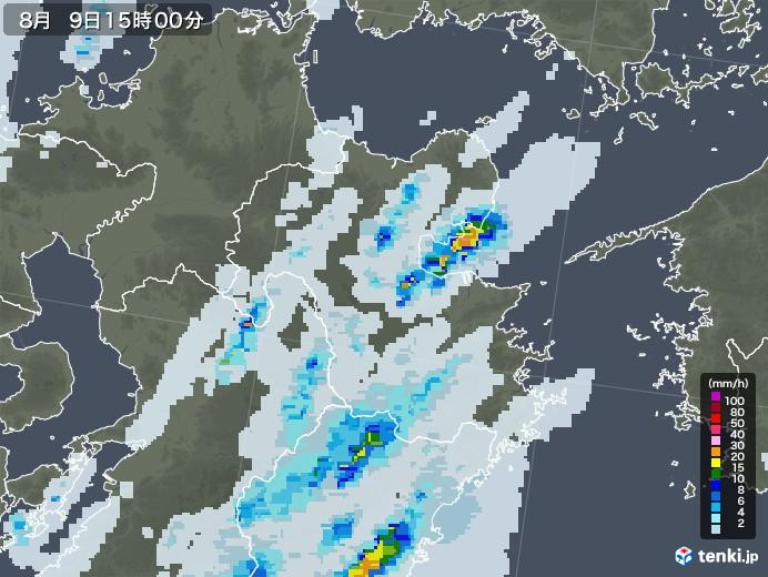 大分県の雨雲レーダー(2020年08月09日)