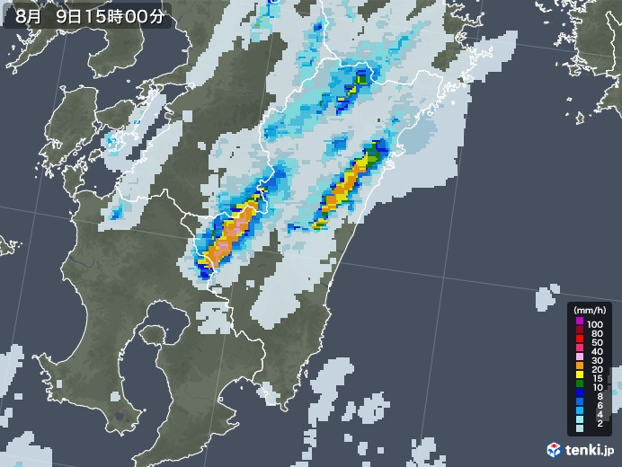宮崎県の雨雲レーダー(2020年08月09日)