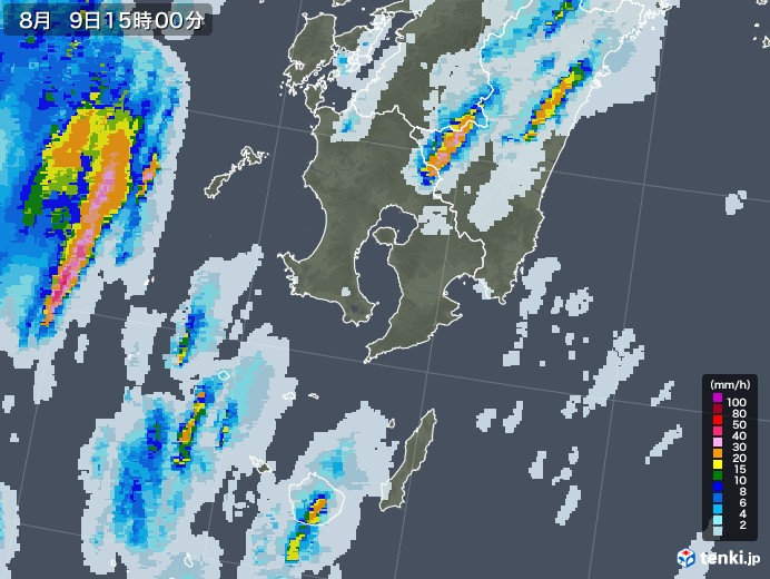 鹿児島県の雨雲レーダー(2020年08月09日)