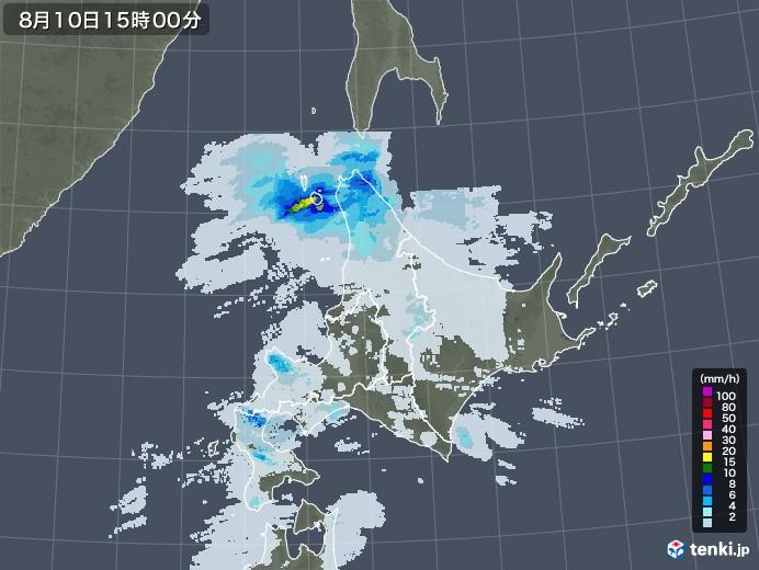 北海道地方の雨雲レーダー(2020年08月10日)