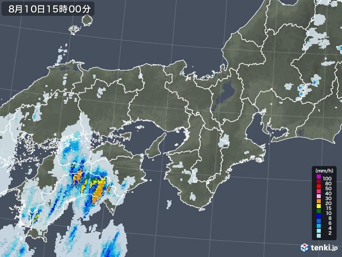 近畿地方の雨雲レーダー(2020年08月10日)