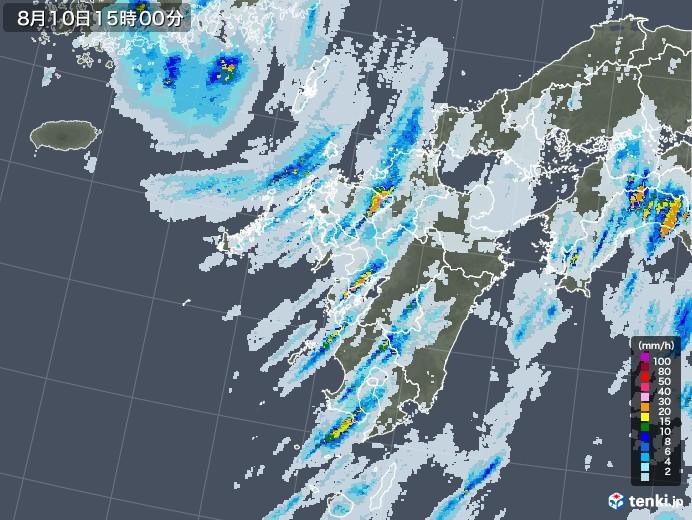 九州地方の雨雲レーダー(2020年08月10日)