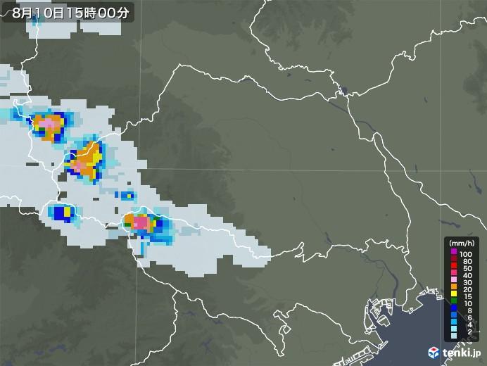 埼玉県の雨雲レーダー(2020年08月10日)