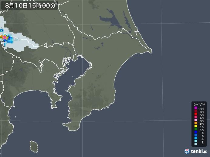 千葉県の雨雲レーダー(2020年08月10日)