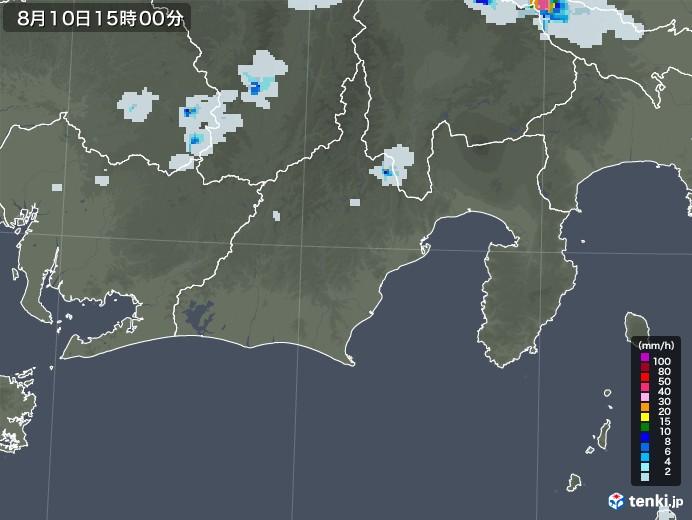 静岡県の雨雲レーダー(2020年08月10日)