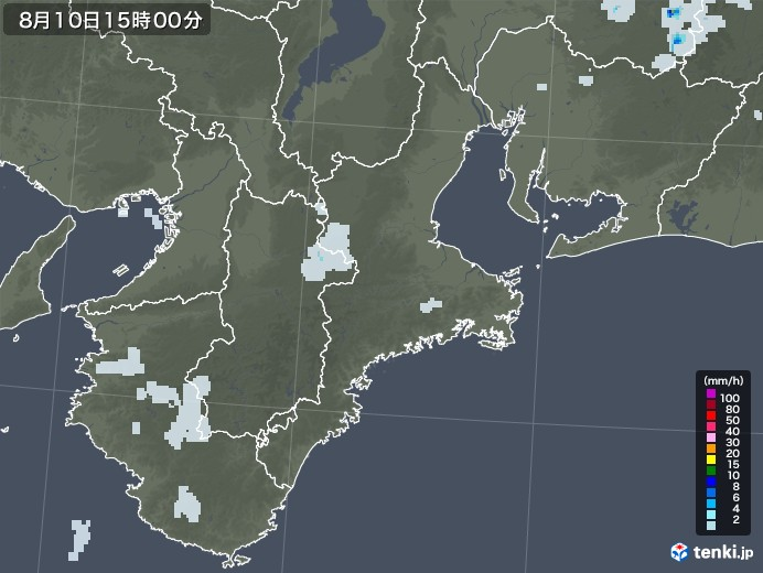 三重県の雨雲レーダー(2020年08月10日)