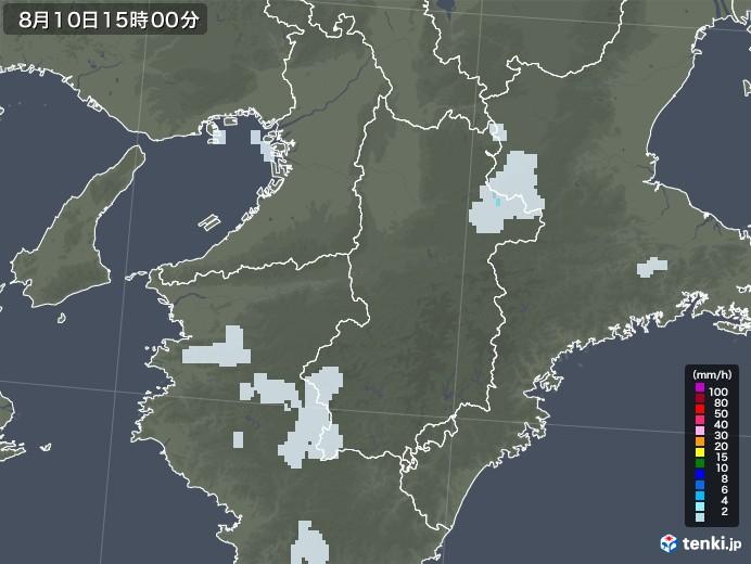 奈良県の雨雲レーダー(2020年08月10日)