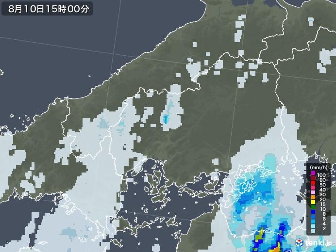 広島県の雨雲レーダー(2020年08月10日)