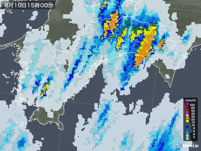 高知県の雨雲レーダー(2020年08月10日)