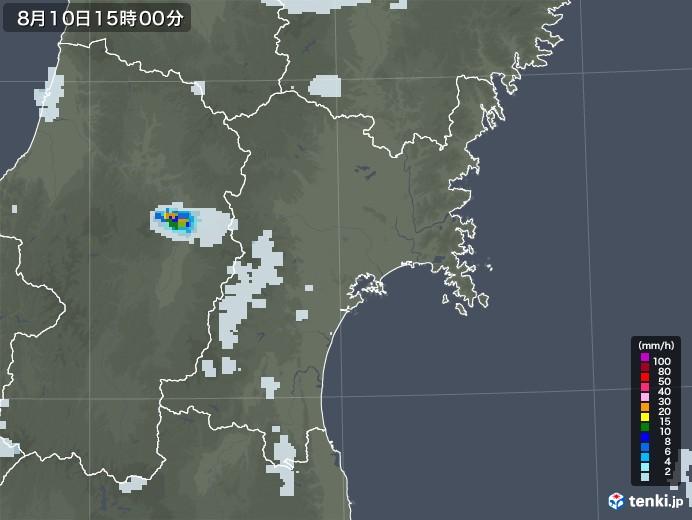 宮城県の雨雲レーダー(2020年08月10日)