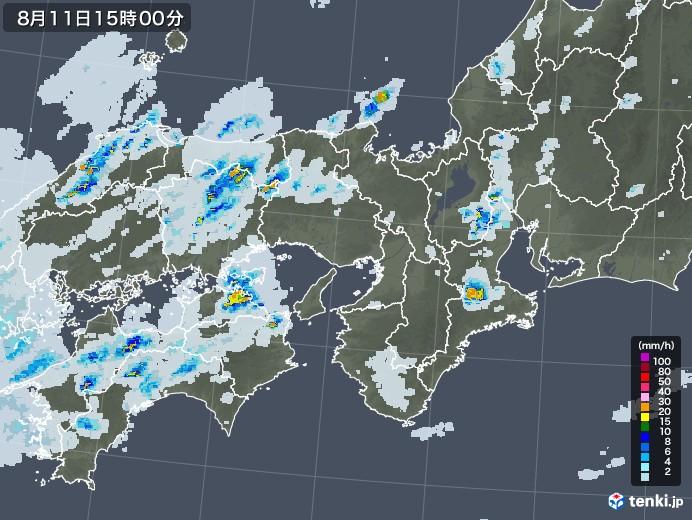 近畿地方の雨雲レーダー(2020年08月11日)