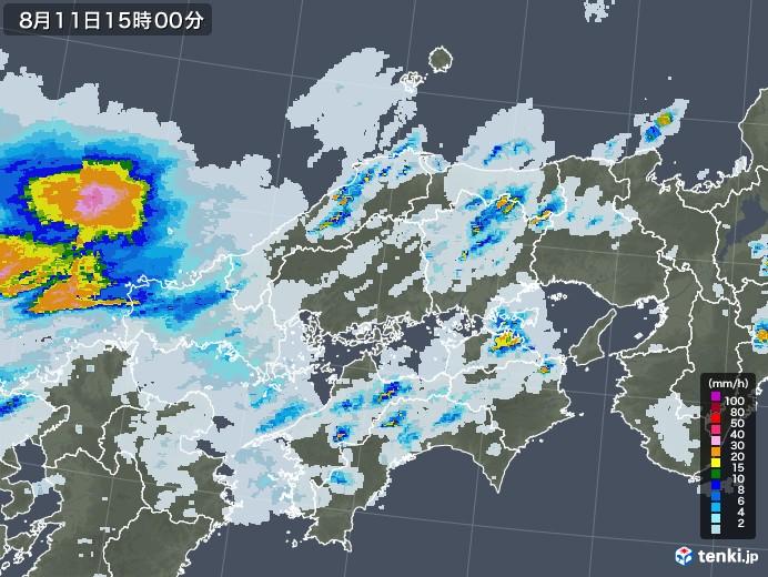 中国地方の雨雲レーダー(2020年08月11日)