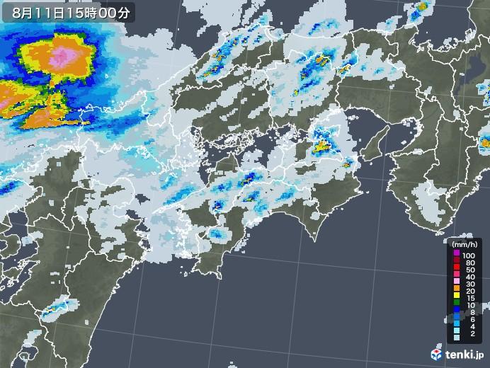 四国地方の雨雲レーダー(2020年08月11日)