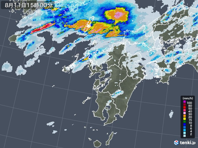 九州地方の雨雲レーダー(2020年08月11日)