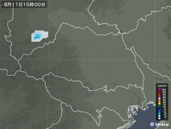 埼玉県の雨雲レーダー(2020年08月11日)