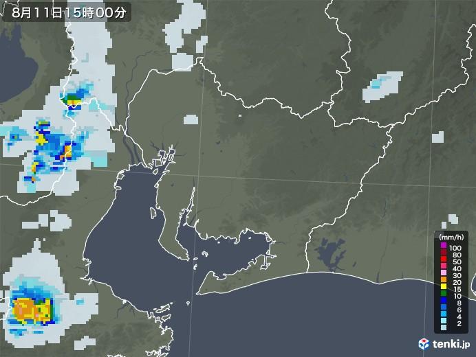 愛知県の雨雲レーダー(2020年08月11日)