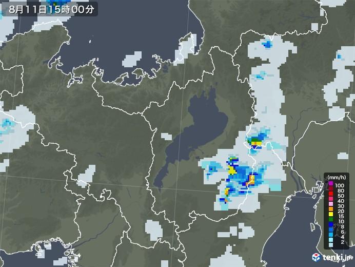 滋賀県の雨雲レーダー(2020年08月11日)
