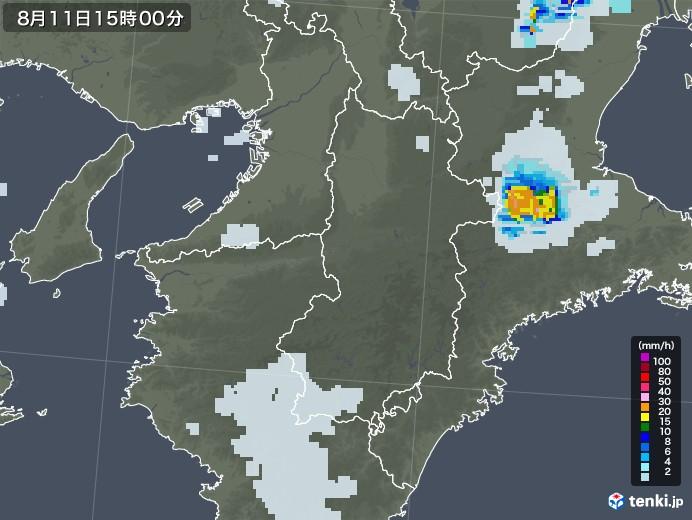 奈良県の雨雲レーダー(2020年08月11日)